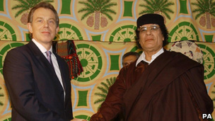 Tony Blair meets Libyan leader Colonel Gaddafi in 2004