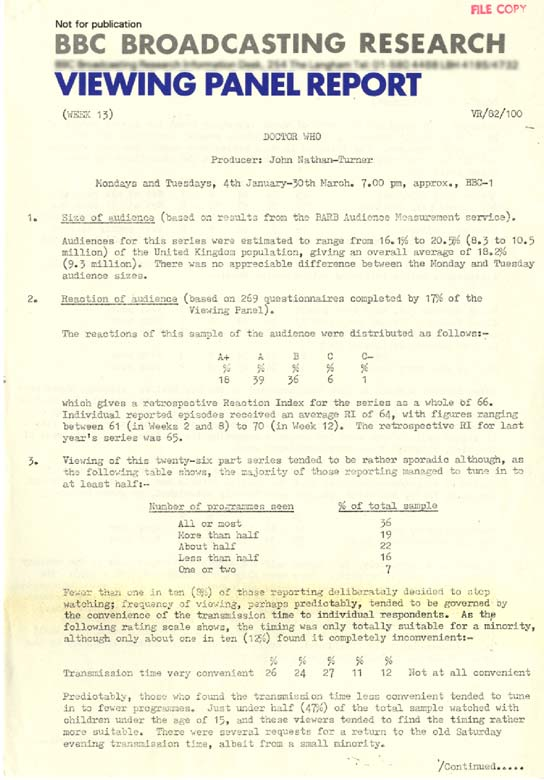 Page 1 of an audience report about Doctor Who's 1982 series.