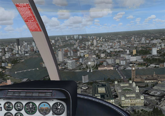 View from flight sim cockpit, looking out to the city of London, the London Eye is in shot