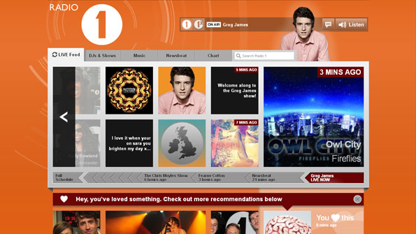 Screenshot of home page, with new content streaming right to left