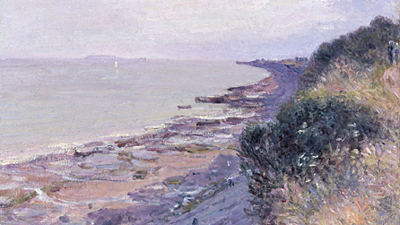 The Cliff at Penarth, Evening, Low Tide by Alfred Sisley, 1897. © Amgueddfa Cymru - National Museum Wales. Acquired with the assistance of The Art Fund and the Gibbs Family Trust, 1993.