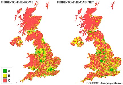 Maps showing areas which are getting faster broadband