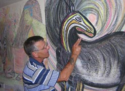 Tommy MacHale, who started painting after suffering a stroke working on one of his paintings