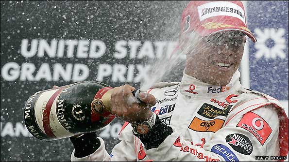 Lewis Hamilton celebrates after winning the last US Grand Prix in 2007