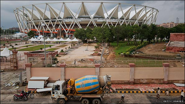 Work outside the main Commonwealth Games stadium in Delhi