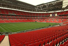 The pitch at Wembley football stadium