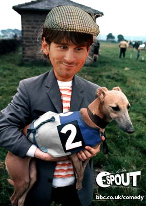 Lionel Messi in a flat cap, carrying a whippet.