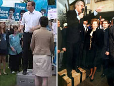 David Cameron and John Major speaking from soapboxes