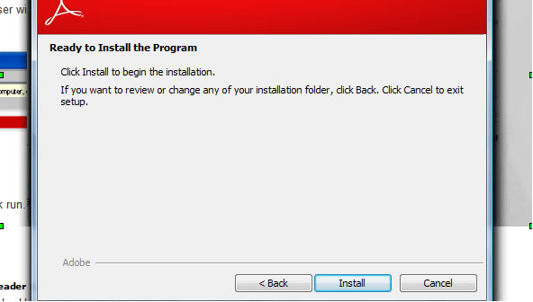 Reader download step 8 –  Ready to Install the Program