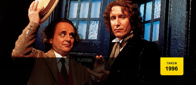 Sylvester McCoy welcomes Paul McGann as the Eighth Doctor.