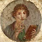 Image of an ancient Roman fresco portrait of a young woman holding a stylus
