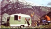 A family and their caravan abroad