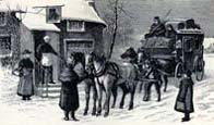 Winter scene showing a horse drawn carriage and passingers resting outside a snow covered house