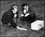 two men with geiger counter