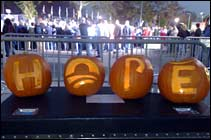 Halloween pumpkins with the letters HOPE carved in them
