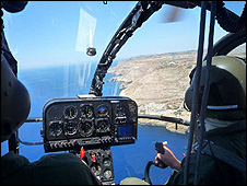 On patrol in Maltese helicopter