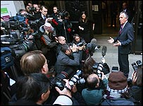 Peter Hain faces the press