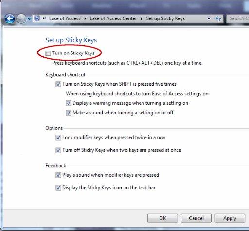 how do i turn off sticky keys windows 7