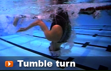 Swimmer performing a tumble turn