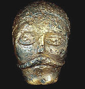 Bronze model of an Iron Age man's face