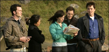 Gareth David-Lloyd (left) as Ianto Jones with Torchwood cast in the episode Countrycide