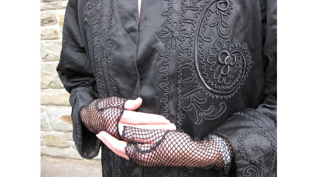 Embroidered coat and mittens