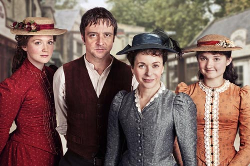 Laura Timmins (Olivia Hallinan),Gabriel Cochrane (Richard Harrington), Dorcas Lane (Julia Sawalha) and Minnie (Ruby Bentall)