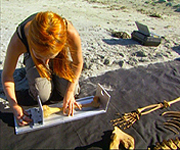 Alice Roberts measuring a bone from the skeleton found at the settlement