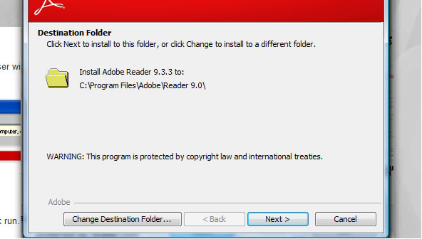 Reader download step 7 – Destination Folder