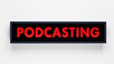 Podcasting recording studio sign