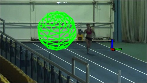 An early test of the app showing the virtual objects placed into the scene. In this version the ball rolled along next to the athlete.