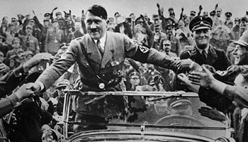 Adolf Hitler, chancellor of Germany, is welcomed at Nuremberg, 1933