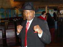 black male in boxing stance