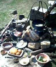 A varied selection of fruit and meats ready for the Viking cooking pot