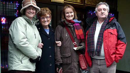 Phil Carradice with members of the Haggar family outside the former Haggar's Cinema in Pembroke