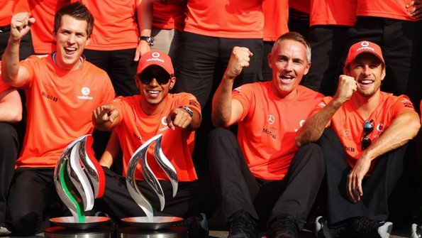 From second left - Lewis Hamilton, Martin Whitmarsh, Jenson Button