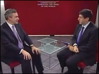 Gordon Brown and Jon Sopel