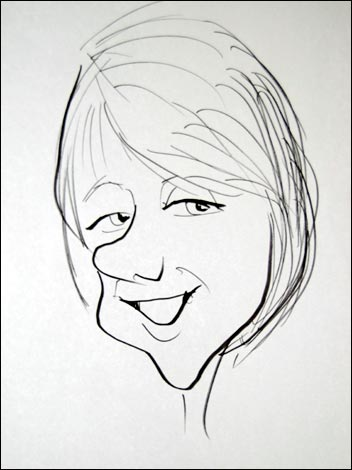 08 - Caricature - Steve Chadburn drawing of Rebecca Bryers (Rupal Rajani's Braodcast Assistant)