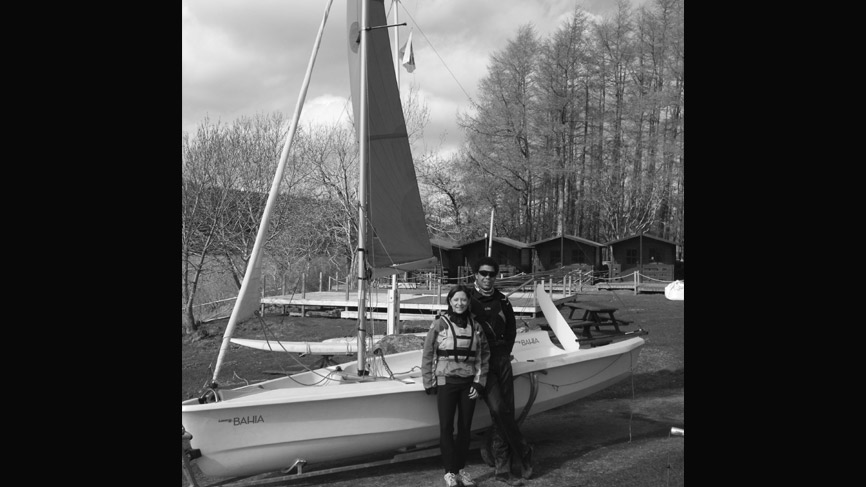 Laura Seawright prepares for her sailing lesson on Loch Ken.