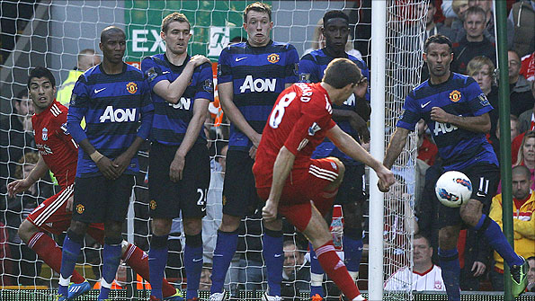 Ryan Giggs jumps out of the wall while defending a free-kick for Manchester United against Liverpool