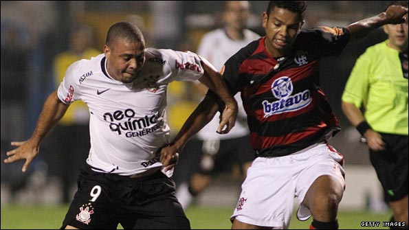Ronaldo in action for Corinthinians during the Copa Libertadores in May