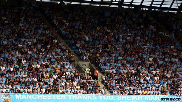 Manchester City fans show their support at Eastlands