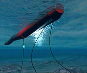 CGI showing Pelamis sending electricity beneath the sea