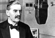 Black and white photograph showing Neville Chamberlain