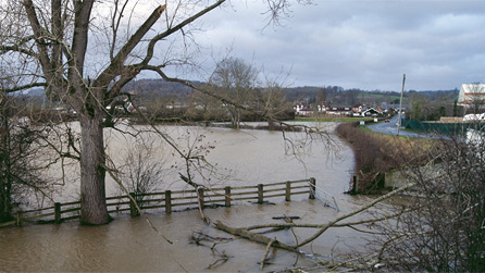Flooding in Welshpool by Ian Francis.