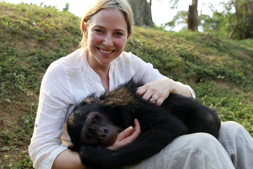 Dr Alice Roberts with a chimpanzee