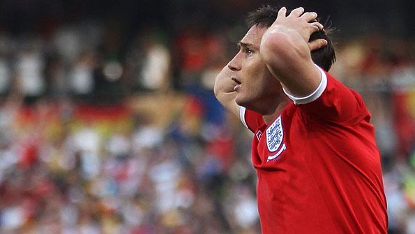 Frank Lampard despairs after his goal is disallowed against Germany at the 2010 World Cup.