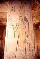 Image of a relief showing Nefertari on a column