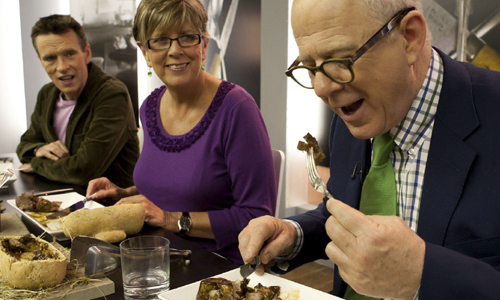 Oliver Peyton, Prue Leith and Matthew Fort tasting food for Great British Menu.