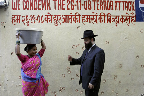 A rabbi outside the Jewish cultural centre which was targeted during Mumbai attacks